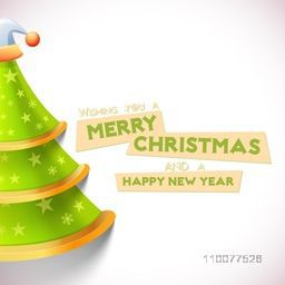Elegant greeting card design with creative glossy Xmas Tree for Merry Christmas and Happy New Year celebration.