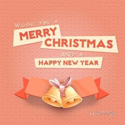 Elegant greeting card design with Jingle Bells and blank ribbon for Merry Christmas and Happy New Year celebration.