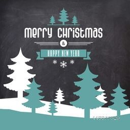 Elegant greeting card design with Xmas Trees on chalkboard background for Merry Christmas and Happy New Year celebration.