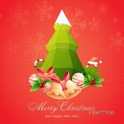 Elegant greeting card design with Xmas Tree and other ornaments on snowflakes decorated background for Merry Christmas celebration.