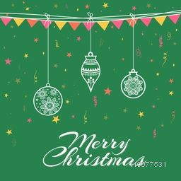 Elegant greeting card design with hanging Xmas Balls on green background for Merry Christmas celebration.