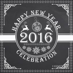 Elegant greeting card design with creative Xmas ornaments on chalkboard background for Happy New Year 2016 celebration.