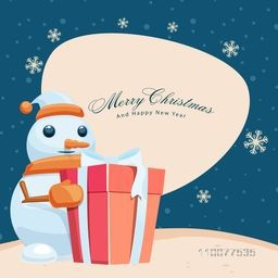 Cute snowman holding a gift box on snowflakes decorated background for Merry Christmas and Happy New Year celebration.