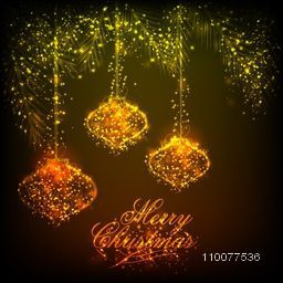 Elegant greeting card design with sparkling Xmas Balls hanging on fir tree for Merry Christmas celebration.