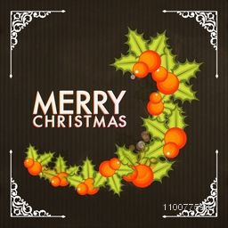 Elegant greeting card design decorated with creative mistletoes for Merry Christmas celebration.