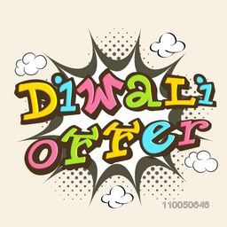 Stylish text of Diwali Offer with burst background and cloud shape on skincolour background.