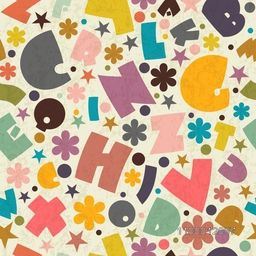 Seamless pattern with English Letters, Alphabets.