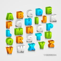 Colorful creative shiny 3d capital alphabet letters on grey background.