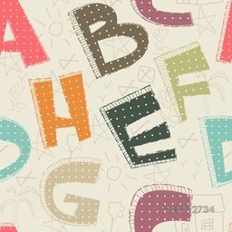 Back to school, seamless pattern with colorful English Alphabets.