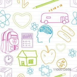 Back to school, seamless pattern with various colorful elements.