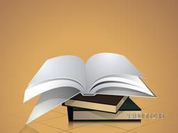Open book on stack of books over stylish background.
