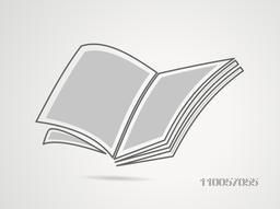 Concept of a blank open book on grey background.