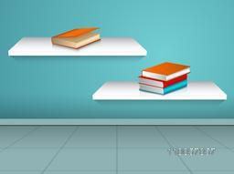 Books with different color of covers on shelves over stylish background.