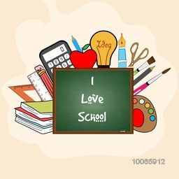 Set of various colorful educational supplies with stylish text I Love School on chalkboard.