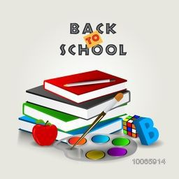 Set of different educational supplies on grey background for Back to School.