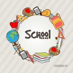 Stylish rounded frame decorated with different educational supplies on grey background.
