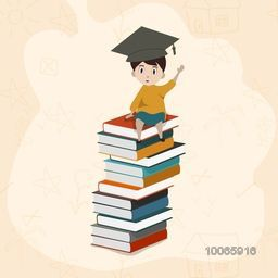 Cute little boy in graduation hat, sitting on the stack of colorful books on stylish background.