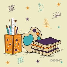 Set of different educational supplies on stylish background for Back to School.