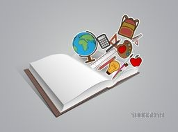Creative sticker, tag or label design of educational supplies coming out from an open book on grey background.