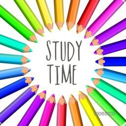 Stylish text Study time with glossy creative colorful pencils in circle shape on grey background.