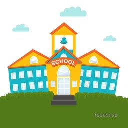 Creative illustration of colorful school building with text School Time on white background.