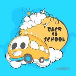 Creative illustration of a running bus for Back to School concept on sky blue background.