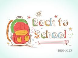 Stylish colorful text Back to School with bag on creative stars decorated background.