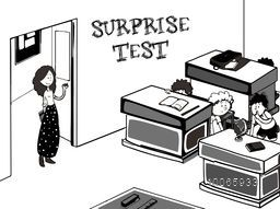 Creative illustration of a teacher entering in classroom and saying about surprise test, But all the students hiding behind desk.