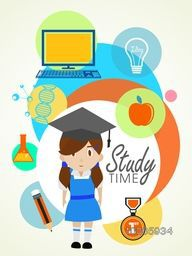 Illustration of a little cute girl in graduate cap with educational elements, objects and items on abstract colorful background.