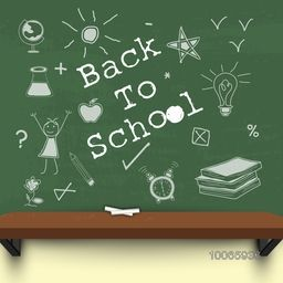 Stylish text Back to School with educational elements, objects on green chalkboard background and chalk on shelf.