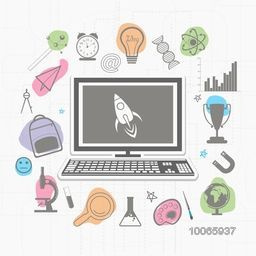 Illustration of a desktop with various elements and objects for education on stylish background.