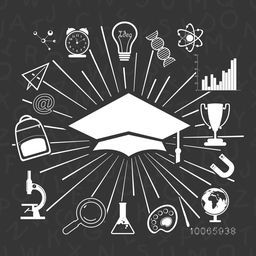 Creative illustration of a graduate cap with various elements and objects for education on alphabets decorated grey background.