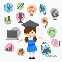 Colorful creative educational educational elements, objects and items with illustration of a little cute girl in graduate cap.