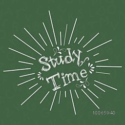 Stylish text Study Time on alphabets decorated green background.