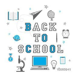 Stylish text Back to School with educational elements, objects and items on white background.