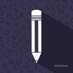 Illustration of a pencil on alphabetical decorated purple background.