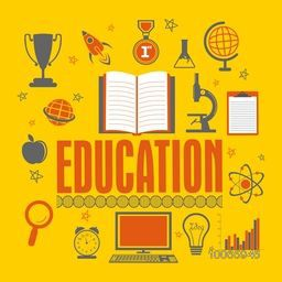 Stylish text Education with creative colorful educational elements, objects and items on yellow background.