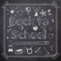 Stylish text Back to School with educational elements, objects and items created by white chalk on blackboard background.