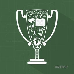 Creative illustration of educational elements or objects with text Education on winning trophy