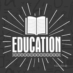 Stylish text Education with open book on educational elements background.