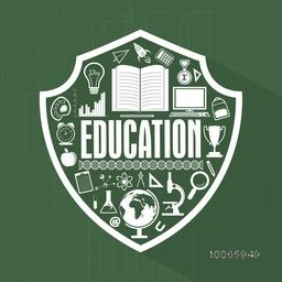 Creative illustration of educational elements or objects with text Education on shield.