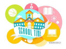 Sticker, tag or label with school building, elements and School Time ribbon on white background.