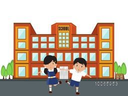 Illustration of cute little students playing outside of a school building on nature background.