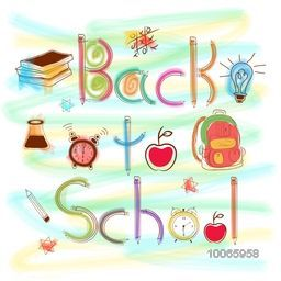 Colorful creative stylish text Back to School with educational elements, objects and items.