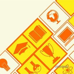 Colorful creative educational elements, objects and items for Back to School.