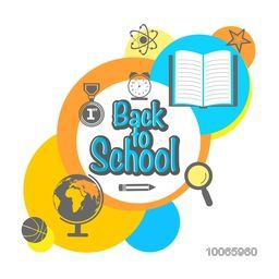 Stylish sticker, tag or label with text Back to School and educational objects on white background.