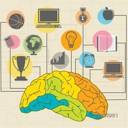Creative illustration of a colorful brain with educational elements, objects and items on stylish background.