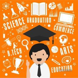 Creative stylish educational elements, objects and items with illustration of a graduated boy on orange background.