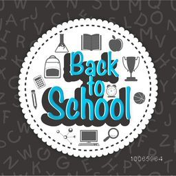 Stylish sticker, tag or label for Back to School with educational objects, items and elements.