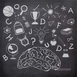 Illustration of educational elements, objects and items with brain created by white chalk on blackboard background.